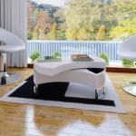 vidaXL sofabord justerbart højglans hvid