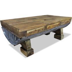 vidaXL sofabord massivt genbrugstræ 90 x 50 x 35 cm