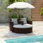 vidaXL solseng med parasol brun polyrattan