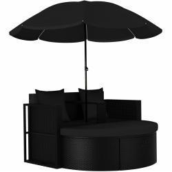 vidaXL solseng med parasol polyrattan sort