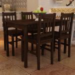 vidaXL spisebordssæt med 4 stole træ brun
