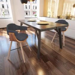 vidaXL spisebordsstole 2 stk. bøjet træ og stof mørkegrå