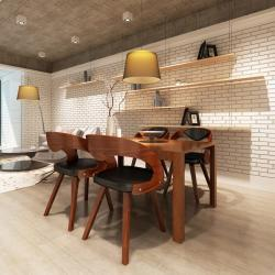 vidaXL spisebordsstole 4 stk. bøjet træ og kunstlæder brun