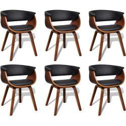 vidaXL spisebordsstole 6 stk. bøjet træ og kunstlæder
