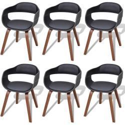 vidaXL spisebordsstole 6 stk. bøjet træ og kunstlæder sort