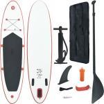 vidaXL Stand Up Paddle Board-sæt SUP surfbræt oppustelig rød og hvid