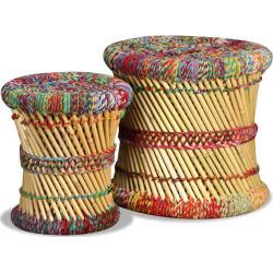 vidaXL taburetter med chindi-detaljer 2 stk. bambus flerfarvet