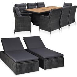 vidaXL udendørs loungesæt 11 dele polyrattan sort