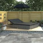 vidaXL udendørs solseng med parasol polyrattan grå