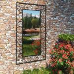 vidaXL vægspejl til haven rektangulær 60 x 110 cm sort