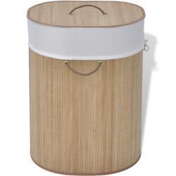 vidaXL vasketøjskurv bambus oval naturfarvet